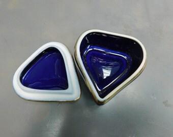 Royal Blue Porcelain Limoge Heart Box