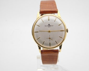 Baume Mercier 18K Yellow Gold With Lizard Band Hand-Wind Wrist Watch