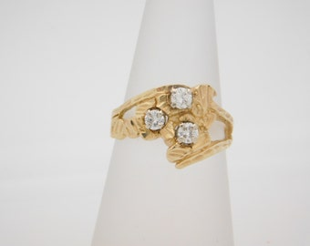 0.40 CARAT T.W. ROUND CUT Diamond Cluster Ring 14K Yellow Gold