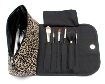 Lovely Leopard Print Makeup Bag with a Brush Holder and Magnetic Button.