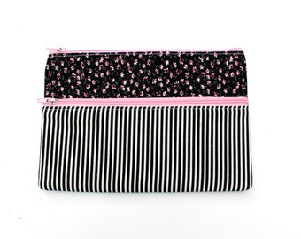 Sale! Striped floral Pencil case/ Makeup Bag 19.5x 13.7cm With Two Pockets and Pink Zippers