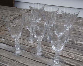 Cambridge Virginian Art Deco Water/Wine Goblets (4) Two Sets Available!