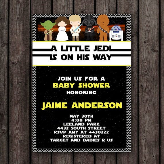 wording included printable invitation star wars theme baby shower