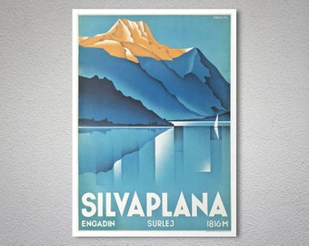 Silvaplana Vintage Travel Poster  - Art Print - Poster Print, Sticker or Canvas Print