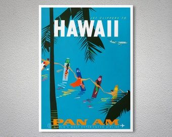 Hawaii Pan Am Travel Poster - Poster Print, Sticker or Canvas Print / Gift Idea