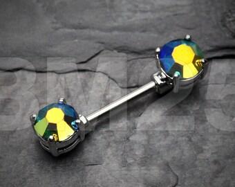Aurora Gem Sparkle Prong Nipple Barbell Ring