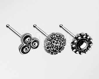 3 Pcs of Filigree Nose Stud Ring Pack