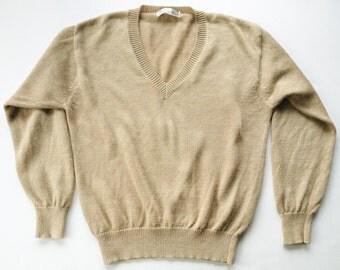 Natural Linen V Neck Sweater