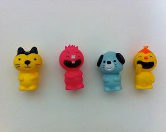 Vintage rubber finger puppets - set of four
