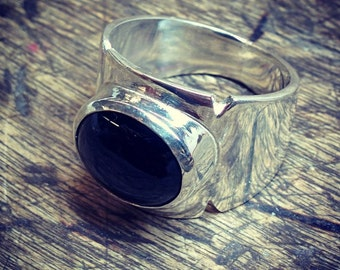 Black onyx ring on silver Sterling