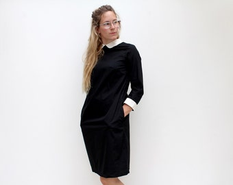 Tunic style shirt dress in cotton, a slight A-line shape with side seam pockets