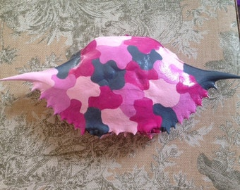 Pink Camouflage Handpainted Crabshell