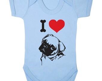 I Love Pugs Baby onesie,babygrow