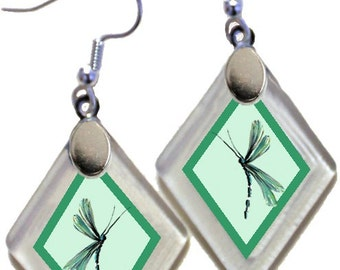 "Earrings ""Annie's Dragonflies"" from rescued, repurposed window glass ~ art by Annie Miller Romero"