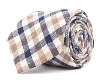 Brown & Navy Plaid Necktie