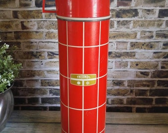Red Thermos, Metal Thermos, Vintage Thermos, Red White Check, Thermos with Plastic Cup