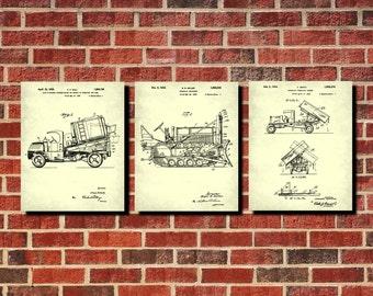 Construction Vehicles Patent Prints Set 3 Man Cave Wall Art Boys Room Decor Vintage Machines Blueprints Workshop Wall Art