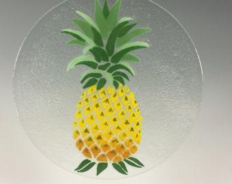 Pineapple Suncatcher, Fused Glass, Pineapple Window Hanging, Welcome Sign