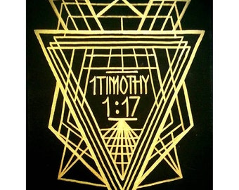 Art Deco Scripture on Black Canvas - 1 Timothy 1:17