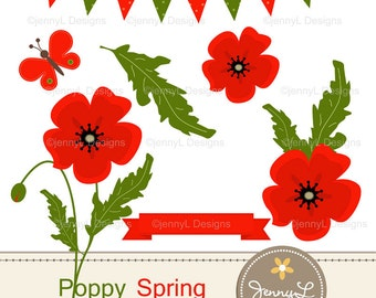 Spring Poppy Flowers Clipart for Birthday, digital Scrapbooking, Wedding, Baptism