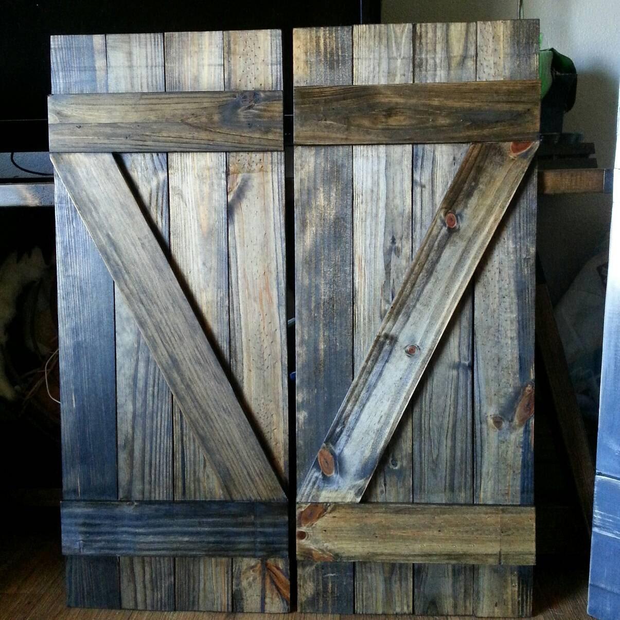 Z Bar Rustic Wood Shutters 24 Decorative Shutters Window Shutters Wall Shutters Exterior