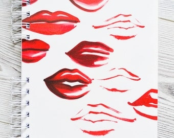 Kisses notebook, Lips notebook, Fashion notebook, Red lips print, Personal notebook, Makeup notebook, Cute notebook, Girly notebook