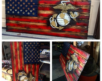USMC American Flag, Marine Flag, Military, Armed Forces, Marine Wall Art, USA Flag, Wooden Flag, Wooden American Flag, Marine Art