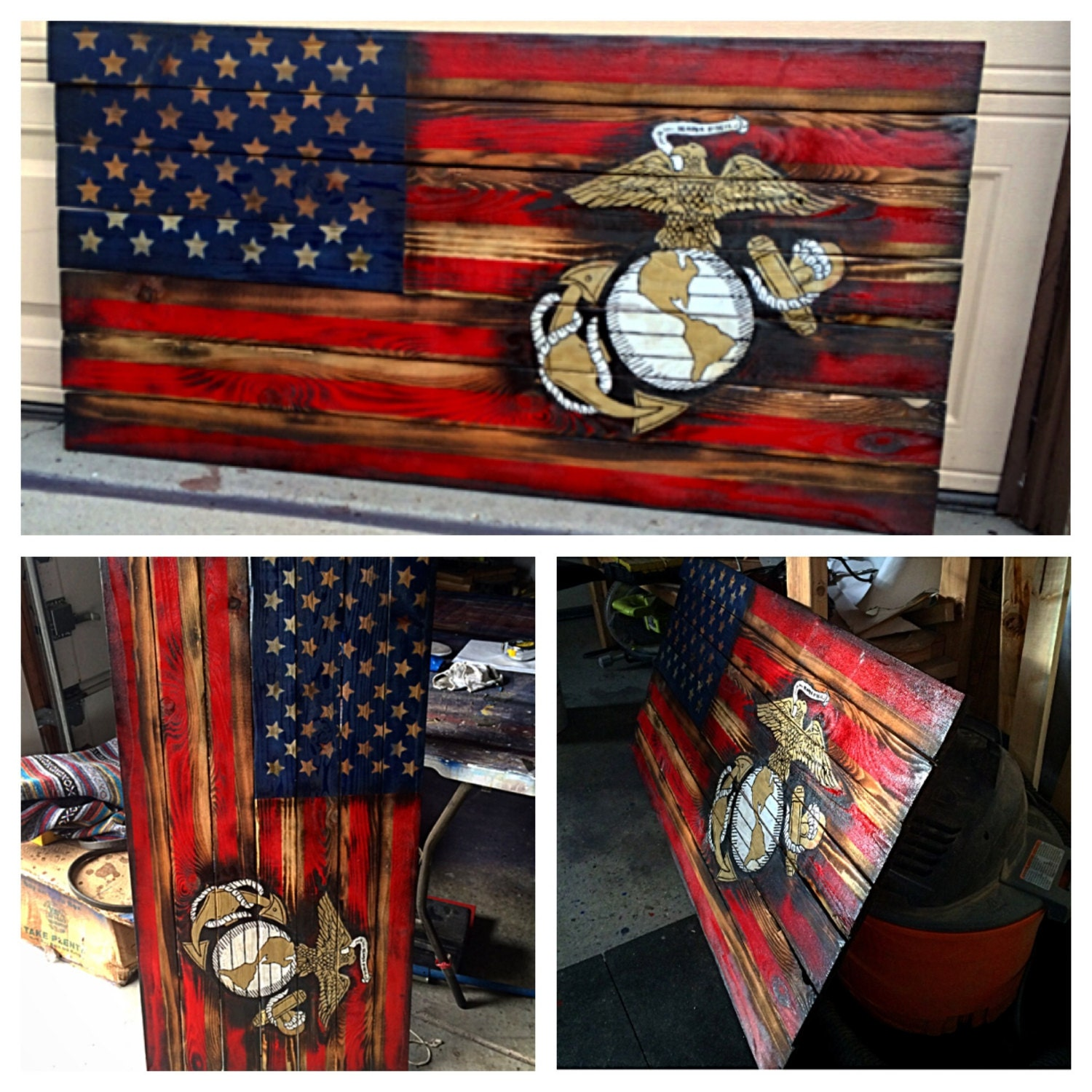 Wooden American Flag Wall Art usmc american flag marine flag military armed forces