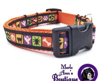 Halloween Dog Collar / Halloween Dog Collar and Leash / Dog Collar and Leash / Black and Orange / Adjustable Dog Collar / Bat / Spider