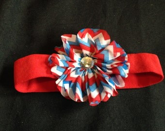 red/white/ blue infant headband
