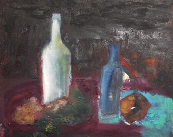 Vintage modernist oil painting still life with bottles and fruits