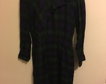 Green and Navy Plaid Vintage Dress