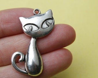 Antique Silver cat Charms Pendants Silver Cat Charms 46*30mm