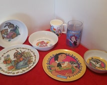 Vintage child's cup, bowl plate set 3 styles, care bears, pocahontas or peter rabbit, by selite, zak, and American greetings
