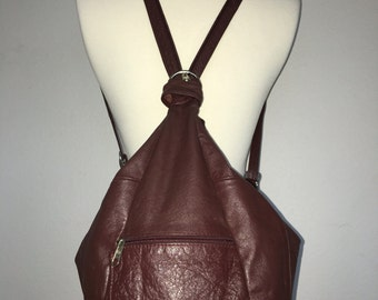 Oxblood Leather Mini Convertible Backpack Purse