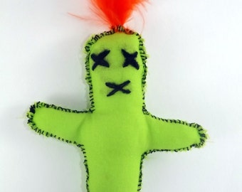 Green doll, Voodoo Doll, Monster Doll, orange feather, Stuffed Toy, Weird Stuff, Monster, Ugly Doll, Ugly Monster, Toy, Plush, voodoo