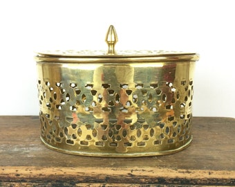 Vintage oval fretwork brass box with lid