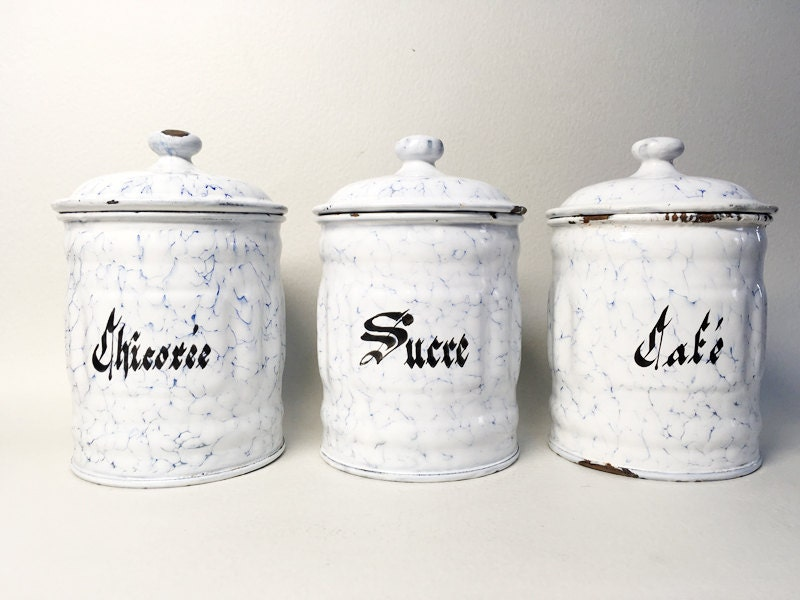 3 french vintage enameled kitchen canisters by frenchbricabroc