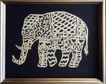 """Elephant, ORIGINAL ART Handmade Paper Cutting, Scherenschnitte, 8x10"""""""
