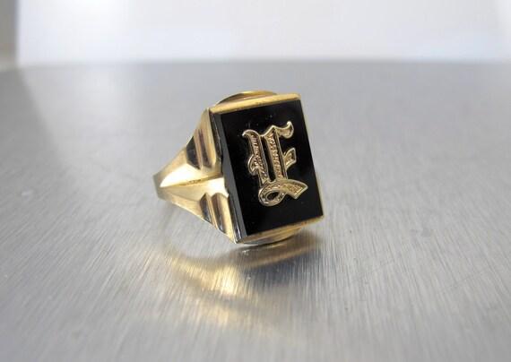 10k mens signet ring black onyx yellow gold initial ring