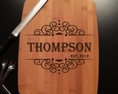 Family Name with Established Date Custom Laser Engraved Bamboo Cutting Board