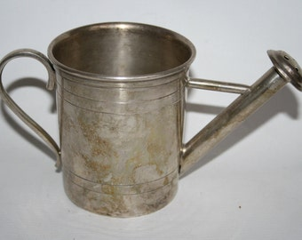 Vintage Antique Retro Silverplated Small Watering Pot Decorative Handcrafted