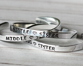 Big Sister, Little Sister, Middle Sister Personalized Stamped Cuff, Big Sis, Mid Sis, Lil Sis, Sister Bracelet - Sister Gift