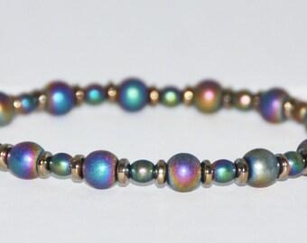 Hematite Stretch Bracelet, Rainbow Hematite, Multicolor Matte, Metallic Bead, Root Chakra, Gemstone, Healing, Grounding, Confidence, Courage