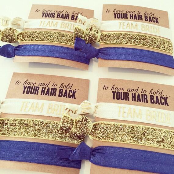 YOU DESIGN Team Bride Hair Tie Bridesmaid Gifts | Custom Bridesmaid Gift Hair Tie Sets, Bridesmaid Proposal, Navy Blue Gold Ivory Hair Ties