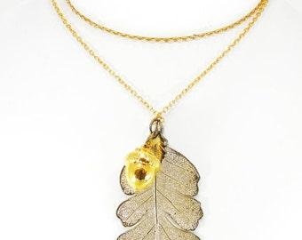 Gold over Sterling Silver Leaf and Egg-corn Necklace