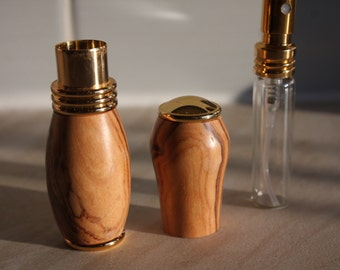 Wood Perfume Atomiser, Compact and Portable, Hand-turned in Wild Olive wood with gold accents