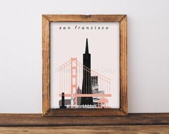 San Francisco Skyline Art San Francisco Art San Francisco Map San Francisco Print San Francisco Poster San Francisco Printable Wall Art