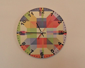 Modern coloured wall clock.  colourful wall clock modern wall clock, unique wall clock, Housewares, Retro wall clock