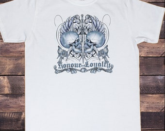 Men's White T-Shirt Gothic Skull Heads Honour & Loyalty  Print TS186
